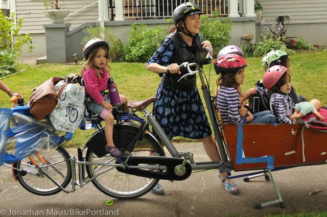 Mom with Kids On Bike