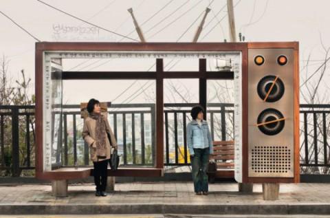Seoul, Südkorea, Bushaltestelle